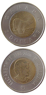 Image of a coin 2 dollars | Canada | 10th Anniversary of Toonie | 2006