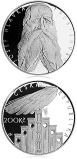 Image of 200 koruna coin – 100th anniversary of death of architect Josef Hlávka | Czech Republic 2008.  The Silver coin is of Proof, BU quality.