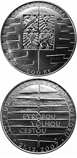 200 korun Entry into the Schengen Area - 2008 - Series: Silver 200 kronen coins - Czech Republic