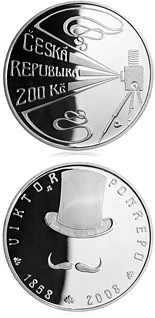 Image of 200 koruna coin – 150th anniversary of birth of cinema pioneer Viktor Ponrepo | Czech Republic 2008.  The Silver coin is of Proof, BU quality.