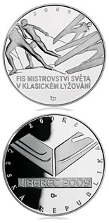 Image of 200 koruna coin FIS Nordic World Ski Championships | Czech Republic 2009.  The Silver coin is of Proof, BU quality.