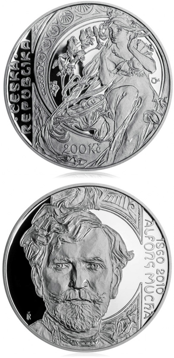 200 korun 150th anniversary - Birth of painter Alfons Mucha - 2010 - Series: Silver 200 kronen coins - Czech Republic