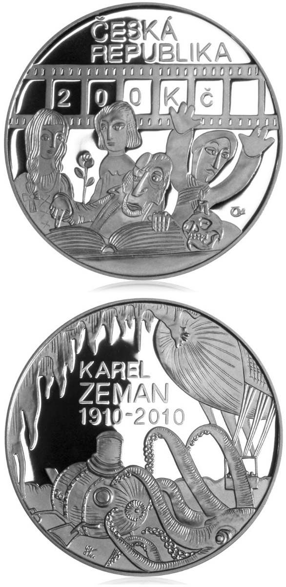 200 korun 100th anniversary birth of director Karel Zeman - 2010 - Series: Silver 200 kronen coins - Czech Republic