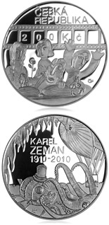 200 koruna coin 100th anniversary birth of director Karel Zeman | Czech Republic 2010