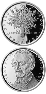 Image of Birth of poet Karel Jaromír Erben  – 500 koruna coin Czech Republic 2011.  The Silver coin is of Proof, BU quality.