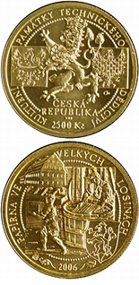Image of Hand-Paper Mill at Velké Losiny – 2500 koruna coin Czech Republic 2006.  The Gold coin is of Proof, BU quality.