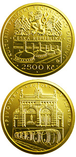 Image of 2500 koruna coin - Brewery at Plzeň | Czech Republic 2008.  The Gold coin is of Proof, BU quality.