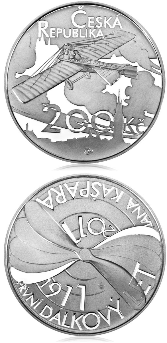 Image of 200 koruna coin – 100th anniversary of the first long-distance flight by Jan Kašpar | Czech Republic 2011.  The Silver coin is of Proof, BU quality.