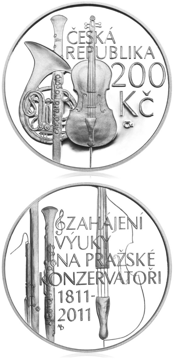 Image of 200 koruna coin – Prague conservatory opens | Czech Republic 2011.  The Silver coin is of Proof, BU quality.