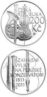 200 korun Prague conservatory opens 2011 - Series: Silver 200 kronen coins - Czech Republic
