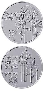 200 korun Opening of Municipal house in Prague 2012 - Series: Silver 200 kronen coins - Czech Republic