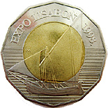 Image of 25 kuna coin – Expo Lisabon | Croatia 1998.  The Copper–Nickel (CuNi) coin is of BU quality.