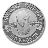 Image of 100 krone coin - Polar bear | Denmark 2007.  The Silver coin is of Proof quality.
