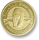 Image of 1000 krone coin – Polar bear | Denmark 2007.  The Gold coin is of Proof quality.