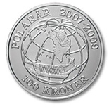 Image of 100 krone coin Sirius | Denmark 2008.  The Silver coin is of Proof quality.