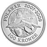 Image of 100 krone coin – Northern Lights  | Denmark 2009.  The Silver coin is of Proof quality.
