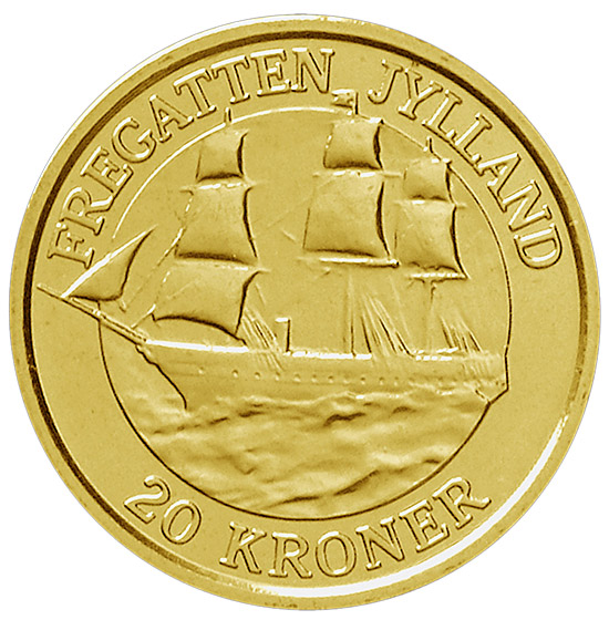 Image of 20 krone coin - The Frigate Jylland | Denmark 2007.  The Nordic gold (CuZnAl) coin is of Proof, BU, UNC quality.