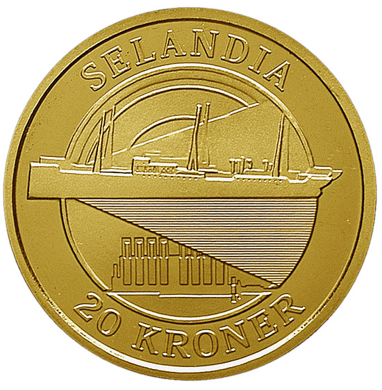 Image of 20 krone coin – Selandia | Denmark 2008.  The Nordic gold (CuZnAl) coin is of Proof, BU, UNC quality.
