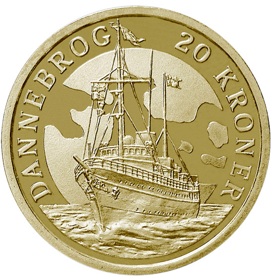 Image of 20 krone coin – The Royal Yacht Dannebrog | Denmark 2008.  The Nordic gold (CuZnAl) coin is of Proof, BU, UNC quality.