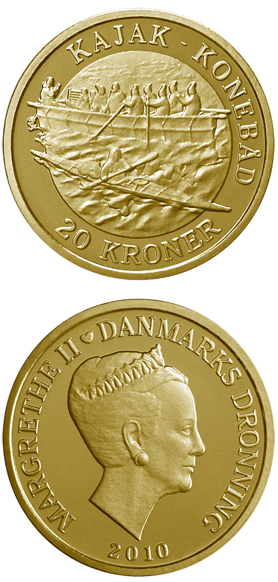 Image of 20 krone coin - Kayak Umiak - Women's boat | Denmark 2010.  The Nordic gold (CuZnAl) coin is of Proof, BU, UNC quality.