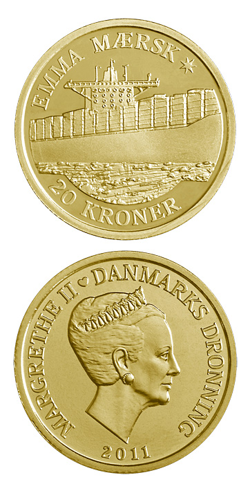 Image of Emma Mærsk – 20 krone coin Denmark 2011.  The Nordic gold (CuZnAl) coin is of Proof, BU, UNC quality.