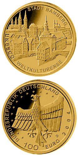 100 euro unesco welterbe bamberg 2004 series gold 100 euro coins germany collector coins. Black Bedroom Furniture Sets. Home Design Ideas