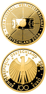 Image of 100 euro coin – FIFE-Fußballweltmeisterschaft Deutschmark 2006  | Germany 2005.  The Gold coin is of Proof quality.