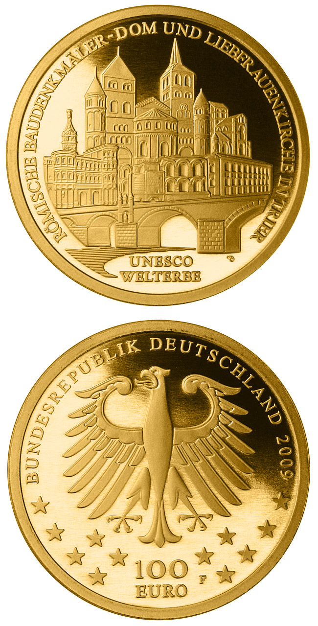 Image of 100 euro coin UNESCO Welterbe Trier | Germany 2009.  The Gold coin is of Proof quality.