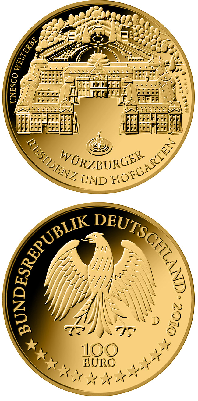Image of 100 euro coin – UNESCO Welterbe Würzburg  | Germany 2010.  The Gold coin is of Proof quality.