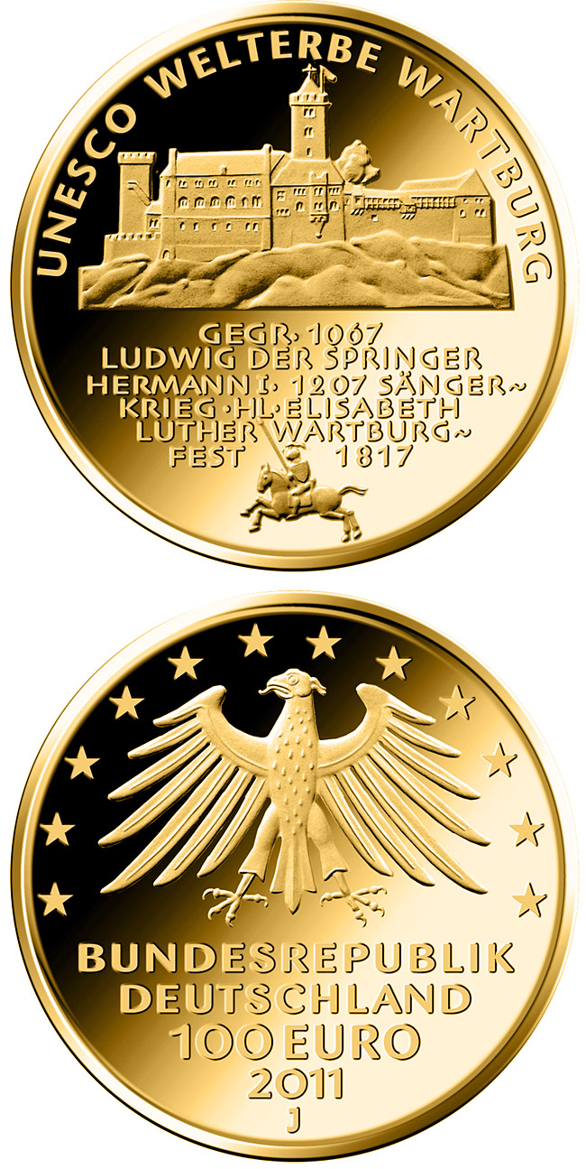 Image of 100 euro coin UNESCO Welterbe Wartburg | Germany 2011.  The Gold coin is of Proof quality.