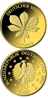 Image of 20 euro coin - Kastanie | Germany 2014.  The Gold coin is of Proof quality.