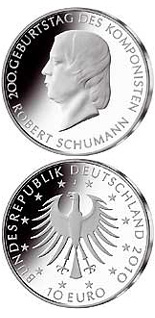 Image of 10 euro coin - 200.Geburtstag Robert Schumann | Germany 2010.  The Silver coin is of Proof, BU quality.