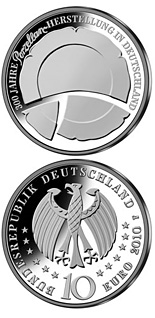 Image of 10 euro coin – 300 Jahre Porzellanherstellung in Deutschland | Germany 2010.  The Silver coin is of Proof, BU quality.