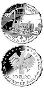 Image of 10 euro coin - 175 Jahre Eisenbahn in Deutschland | Germany 2010.  The Silver coin is of Proof, BU quality.