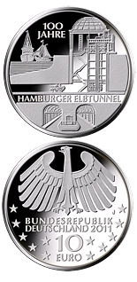 Image of a coin 10 euro | Germany | 100 Jahre Hamburger Elbtunnel | 2011