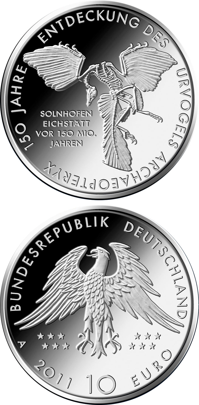 10 euro 150 Jahre Entdeckung des Urvogels Archaeopteryx - 2011 - Series: Silver 10 euro coins - Germany