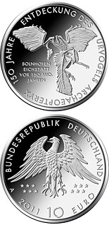 Image of 10 euro coin – 150 Jahre Entdeckung des Urvogels Archaeopteryx | Germany 2011.  The Silver coin is of Proof, BU quality.