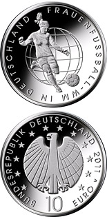 Image of 10 euro coin – Frauenfußball-WM 2011 | Germany 2011.  The Silver coin is of Proof, BU quality.