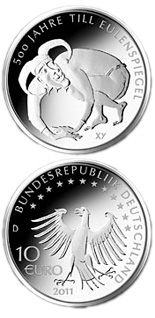 Image of 10 euro coin – 500 Jahre Till Eulenspiegel | Germany 2011.  The Silver coin is of Proof, BU quality.