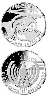 Image of 10 euro coin – 125 Jahre Automobil | Germany 2011.  The Silver coin is of Proof, BU quality.