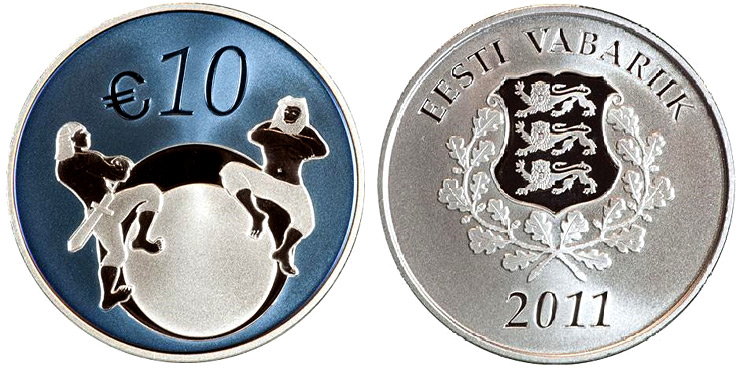 Image of 10 euro coin – Estonia's future | Estonia 2011.  The Silver coin is of Proof quality.