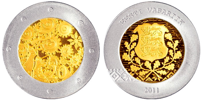 Image of 20 euro coin – Estonia's accession | Estonia 2011.  The Bimetal: gold, silver coin is of Proof quality.