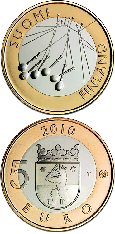 Image of 5 euro coin - Satakunta Provincial Coin  | Finland 2010.  The Bimetal: CuNi, nordic gold coin is of Proof, BU quality.