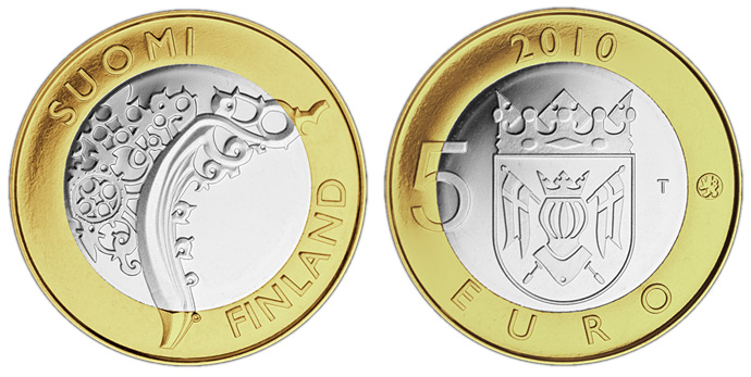 Image of 5 euro coin – Finland Proper Provincial Coin  | Finland 2010.  The Bimetal: CuNi, nordic gold coin is of Proof, BU quality.