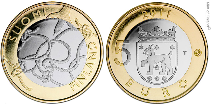 Image of 5 euro coin – Tavastia Provincial Coin  | Finland 2011.  The Bimetal: CuNi, nordic gold coin is of Proof, BU quality.