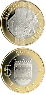 5 euro Uusimaa Provincial Coin  - 2011 - Series: Finnish historic provinces - Finland