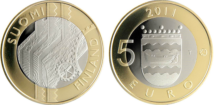 Image of 5 euro coin - Uusimaa Provincial Coin  | Finland 2011.  The Bimetal: CuNi, nordic gold coin is of Proof, BU quality.