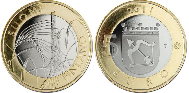 Image of Savonia Provincial Coin  – 5 euro coin Finland 2011.  The Bimetal: CuNi, nordic gold coin is of Proof, BU quality.