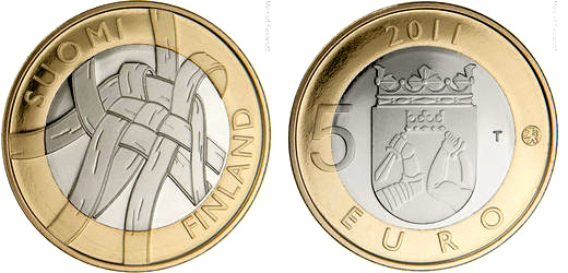 Image of 5 euro coin - Karelia Provincial Coin  | Finland 2011.  The Bimetal: CuNi, nordic gold coin is of Proof, BU quality.