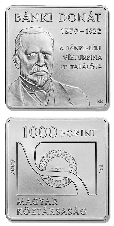 1000 forint 150th anniversary of the birth of Donát Bánki - 2009 - Series: Commemorative 1000 forint coins - Hungary